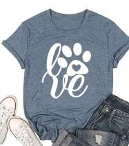 Womens Love Paw Short Sleeve T-Shirt Dog Mom Funny Tees Letters Print O-Neck Casual Summer Tops Shirt