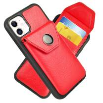 iPhone 11 Wallet Case, 6.1 inch, JLFCH iPhone 11 Case with Credit Card Slot Hidden Holder Protective Cover for iPhone 11, 6.1 inch - Red