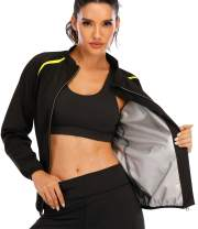 SEXYWG Women Sauna Jacket Slimming Sweat Sauna Suit Sauna Shirt Long Sleeve Workout Tops Body Shaper