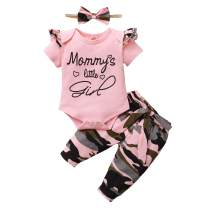 Toddler Baby Girl Clothes Newborn Outfit Ruffle Sleeve Romper Onesies Floral Pants Set Cute Infant Baby Clothes Summer