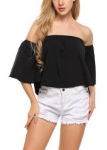 Zeagoo Off Shoulder Top Casual Short Sleeve Shirt Cute Loose Blouse