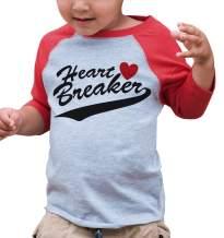 7 ate 9 Apparel Kids Heart Breaker Happy Valentine's Day Red Raglan