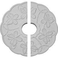 "Ekena Millwork CM17TS2 Terrones Butterfly Ceiling Medallion, 17 7/8""OD x 3 7/8""ID x 1""P (Fits Canopies up to 3 7/8""), Factory Primed"