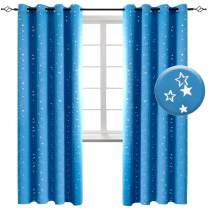 BGment Kids Blackout Curtains for Bedroom - Silver Star Printed Thermal Insulated Room Darkening Grommet Curtains for Living Room, Set of 2 Panels (52 x 84 Inch, Sky Blue)