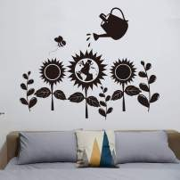 VODOE Sunflower Wall Decal, Flower Wall Decals, World Map Bee Kettle Sun Large Plant Leaf Nature Bedroom Stickers Suitable for Family Living Room Art Home Decor (Black 29.1 X 23.6 inches)