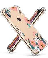 GVIEWIN Compatible for iPhone Xs/X Case, Clear Flower Pattern Design Soft & Flexible TPU Ultra-Thin Shockproof Transparent Floral Cover, Cases iPhone X/iPhone 10 (Summer Blossom/Yellow)