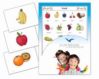 Yo-Yee Flashcards - Fruits Flash Cards in English - Healthy Food Picture Cards for Toddlers 2-4 Years and Kids