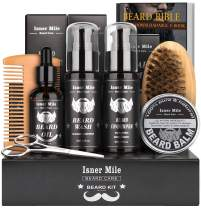 Isner Mile Beard Grooming Kit for Men, Perfect Gifts for Him Dad Fathers Man Boyfriend with Shampoo Wash, Conditioner, Growth Oil, Balm Softener, Double-sided Comb, Bristle Brush and Trimming Scissors