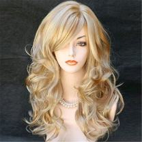 Kalyss Women's Long Curly Body Wavy Heat Resistant Blonde with Highlights Wig Synthetic Full Hair Wig for Women (Blonde with Highlights)
