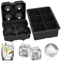 Ouddy 2 Pack Ice Cube Trays, Silicone Combo Round Ice Ball and Large Square Ice Cube Mold with A Funnel for Cocktails, Whiskey
