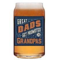 Great Dads Get Promoted To Grandpas - 16 oz Beer Can Glass Mug Cup - First Time New Grandpa Papa Gifts Presents Ideas - Newborn Baby Pregnancy Announcement Fathers Day Birthday Christmas Presents