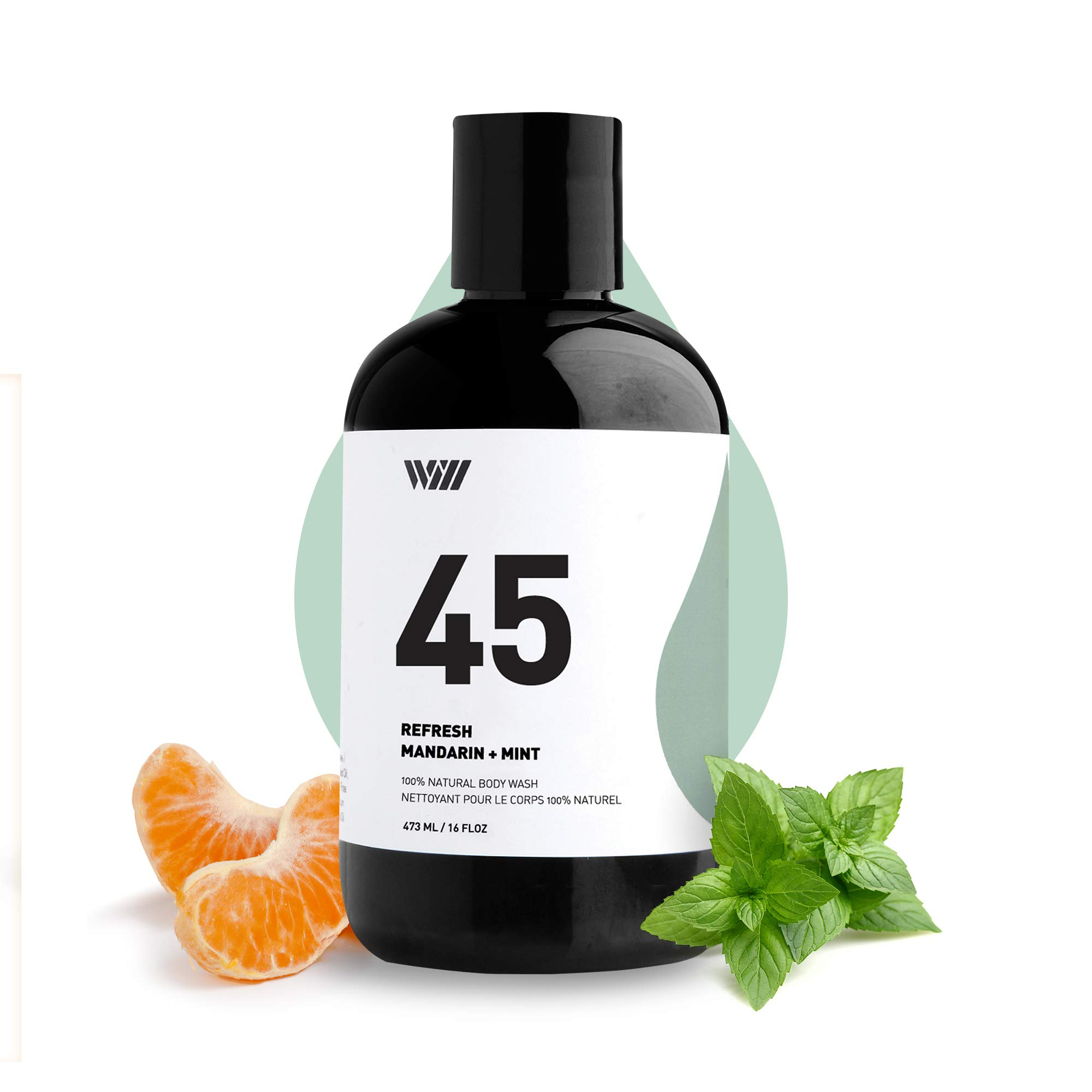 45 Natural Cleansing Body Wash, Organic Shower Gel, Natural Body Wash for Men and Women, Suitable for All Skin Types (Refresh - Mandarin and Mint) - Way of Will