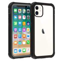 Co-Goldguard iPhone 11 Case with Built in Anti-Scratch Screen Protector Rugged Full-Body Shockproof Protective Case Soft TPU Bumper Clear Back Cover Slim Fit for iPhone 11 6.1 Inch 2019 Black&Clear
