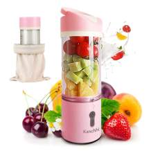 Portable Personal Blender, Smoothie Portable Blender With 4 Blades, Juicer Cup USB Rechargeable Mini Blender 11Oz Fruit Mixing Machine For Juice, Shaker, Smoothies, meat(Pink)