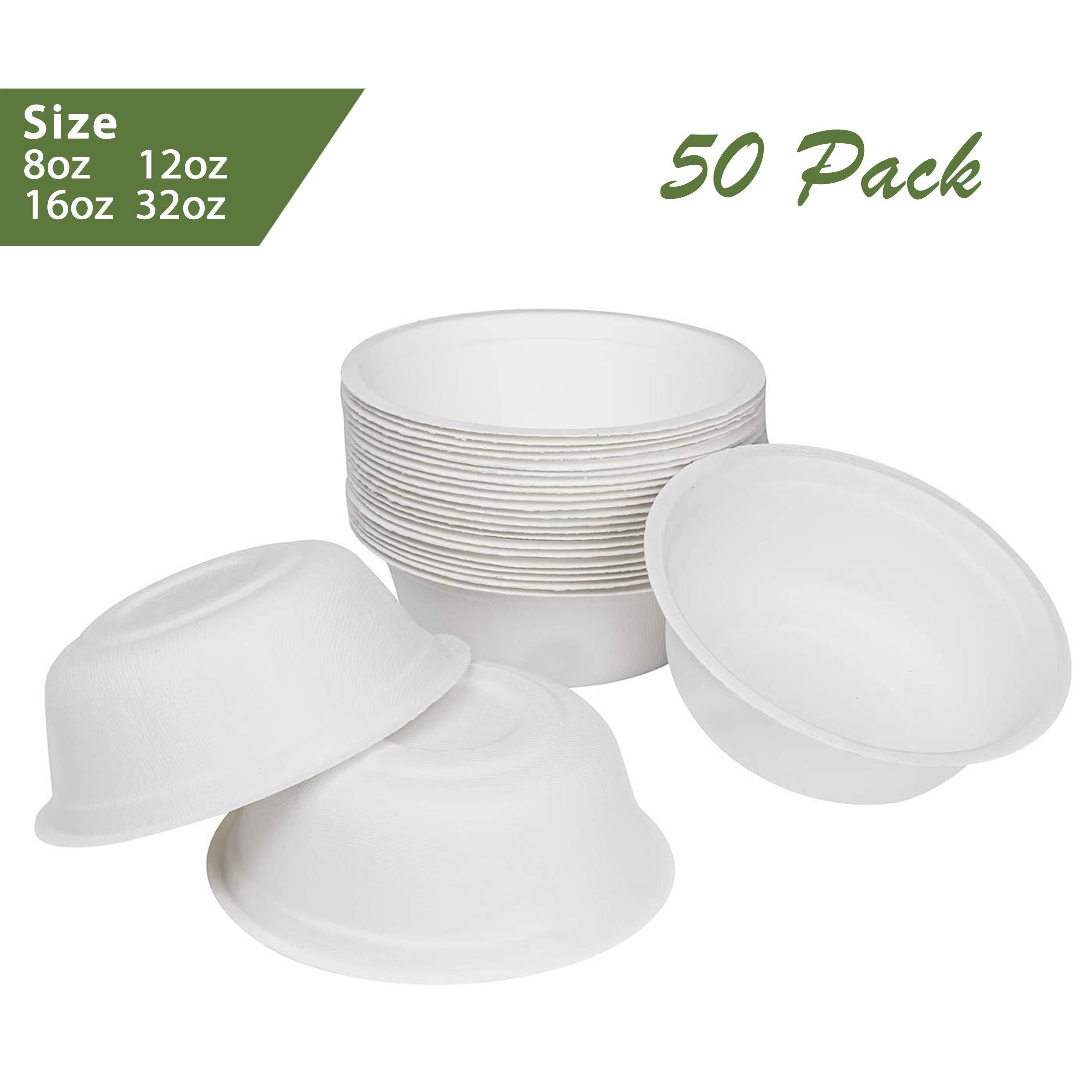 ZenCo Bagasse Rice Bowl - 50 Pack 32oz White Disposable Natural Sugarcane Heat Resistant Eco Friendly Paper Alternative Bowls (50 Count, 32oz)