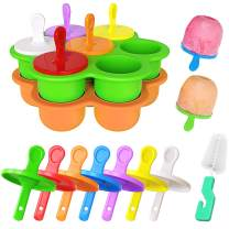 Popsicle Molds, Ouddy 2 Pcs DIY Silicone Popsicle Molds Ice Pop Molds with Plastic Sticks & 1 Brush, 7-Cavity Non-Stick Food Grade Baby Food Freezer Trays, Green & Orange