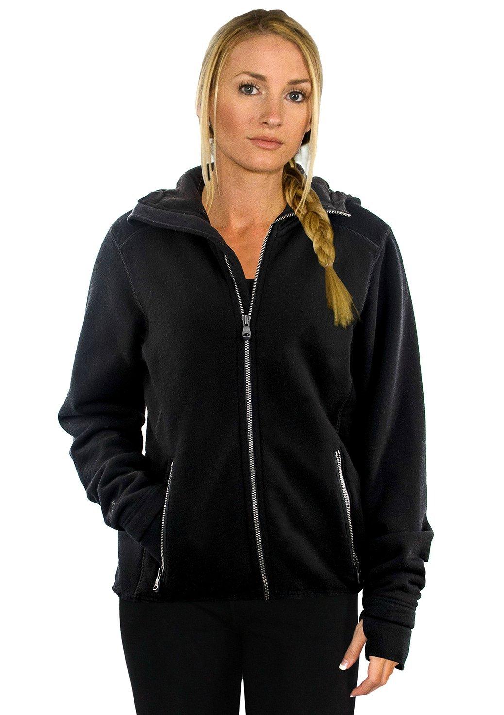 WoolX Women's Merino Wool Sweatshirt – Full Zip Hooded Wool Hoodie – The Cubby