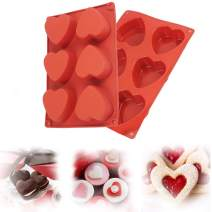 Heart Mold for Chocolate, Silicone Hot Chocolate Bomb Mold, Love Molds Silicone Shapes Jello Molds Silicone for Chocolate, Cake, Jelly, Pudding, Handmade Soap, Mousse Silicone Baking Molds(2 Pieces)