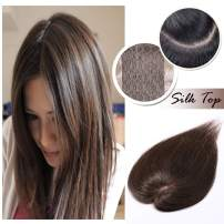"""Silk Base Clip in Topper for Women Medium Brown Human Hair Crown Toupee Wiglet Hand-made Top Hairpieces Middle Part with Thinning Hair(6"""", 4)"""
