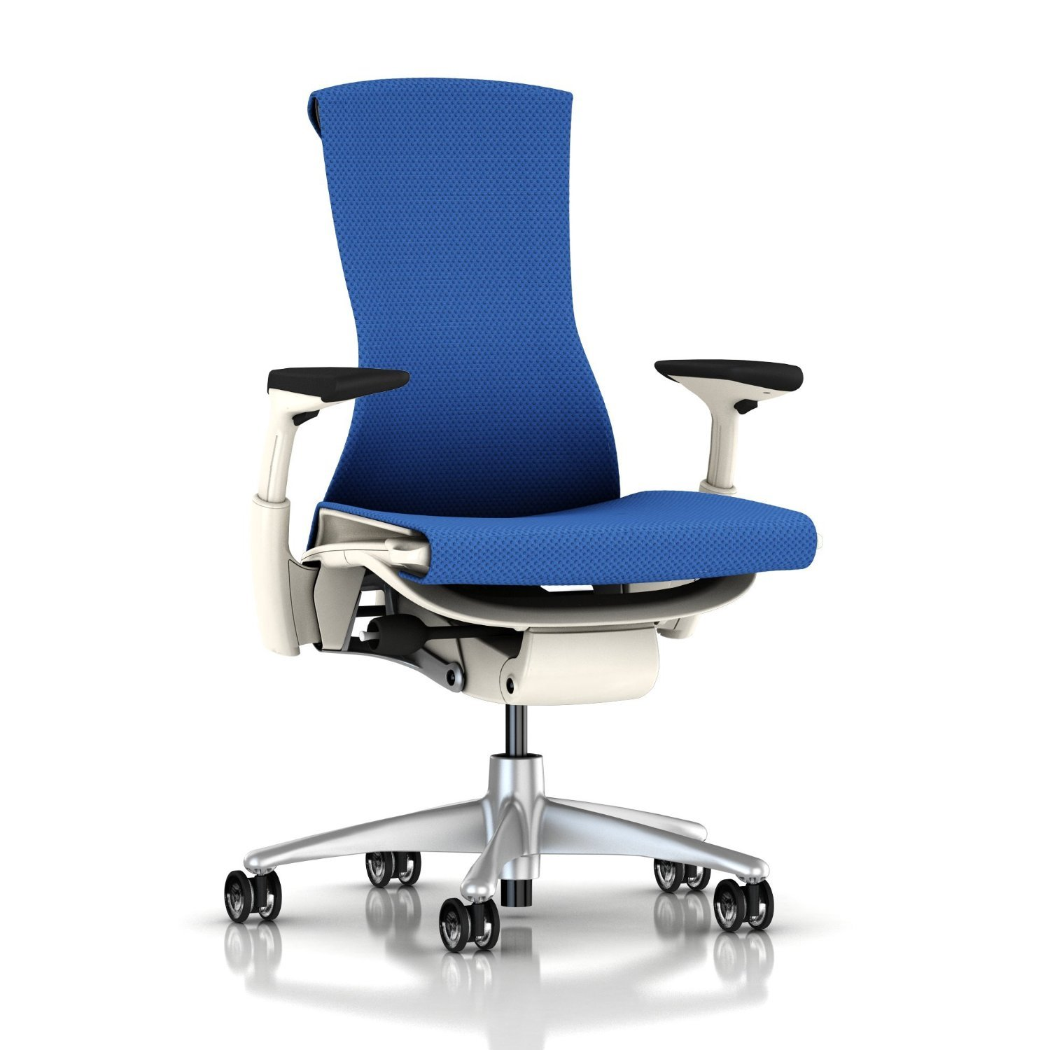 Herman Miller Embody Ergonomic Office Chair with White Frame/Titanium Base | Fully Adjustable Arms and Translucent Casters | Berry Blue Balance