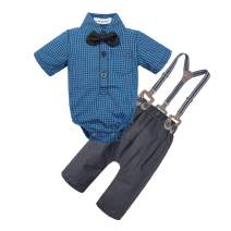 BIG ELEPHANT Baby Boys' 2 Pieces Short Sleeve Gentleman Suspender Pants Set with Bowtie U07
