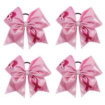 """Oaoleer 4PCS 7"""" Large Breast Cancer Awareness Cheerleader Bow Large Hair Bow With Ponytail Holder Hair Band For Breast Cancer Month"""
