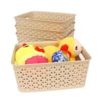 Honla Weaving Plastic Storage Baskets Bins Organizer with Handles,Set of 4,Tan