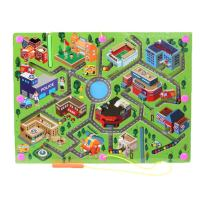O-Toys Kids Maze Wooden Puzzle Activity Magnet Toys Beads Board Game Play Set for Boys Girls Learning Education Toy with Magnetic Wand for Toddlers Infants Preschool Children (City Traffic)