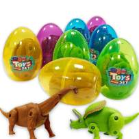 8 Pack Jumbo Easter Eggs Prefilled With Deformatable Hatching Dinosaur Toys Inside Assorted 3 Inches Plastic Surprise Eggs Kids Easter Gifts Toys For Easter Hunt Party, Easter Basket Stuffers Fillers