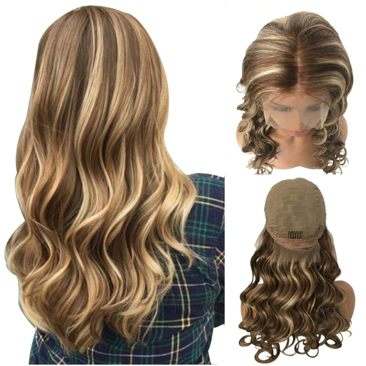 Munx 14 Inch Ombre Brown Mixed Highlight Blonde Wig Loose Wave 100% Human Hair Wigs 13x4 Lace Front Pre-plucked Curly Wig With Baby Hair 150% Density Suitable Black and White