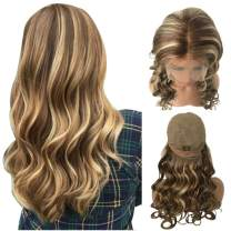 Munx Deep Curly Human Hair 13x4 Lace Front Wigs 150% Density 2tone Real Human Hair Wig for Women with Bleached Knots Pre Plucked Long Blonde Lace Wig 22inch