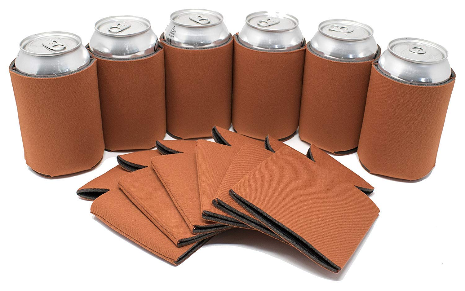 TahoeBay 12 Blank Beer Can Coolers, Plain Bulk Collapsible Soda Cover Coolies, DIY Personalized Sublimation Sleeves for Weddings, Bachelorette Parties, Funny HTV Party Favors (Texas Orange, 12)
