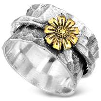 Boho-Magic Sunflower Ring, Spinner Rings for Women 925 Sterling Silver and Brass Sunflower   Nature Wide Band Fidget Meditation Anxiety Jewelry