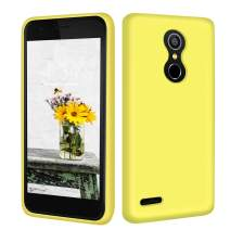 Abitku K30 Case Silicone, K10 Slim Case Liquid Silicone Gel Rubber Shockproof Soft Microfiber Cloth Lining Cushion Compatible with LG K10 2018 (Yellow)