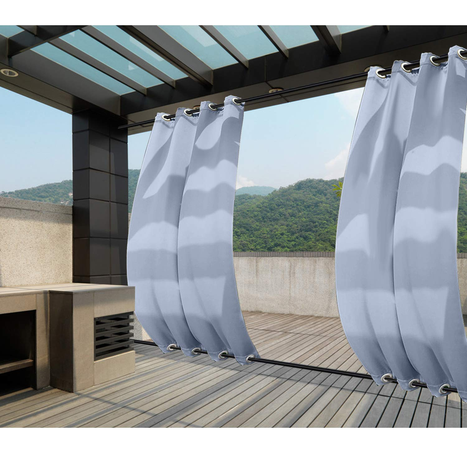 Macochico Windproof Curtains Grommet at Top and Bottom Sky Blue Outdoor Blackout Drapes Water Repellent for Cabana Gazebo Pergola Porch Noise Reducing Heat Insulated 84W x 84L (1 Panel)