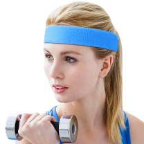 Tititek Headband Sweat Band for Women Workout Non Slip Head Band for Yoga Running Sports Gym Hairband Sweatband for Exercise & Fitness Accessories Blue