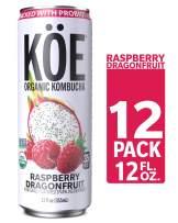 KÖE Organic Kombucha Cans, Raspberry Dragonfruit, 12 Ounces, Pack of 12
