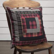 """VHC Brands Rustic & Lodge Pillows & Throws - Cumberland Red Patchwork 18"""" x 18"""" Pillow, 18x18"""