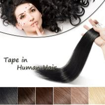 22 inch Tape In Hair Extensions Human Hair Off Black #1B Long Straight Seamless Skin Weft Natural Hair Invisible Double Sided Tape 20pcs 50g+10pcs Replacement Tapes