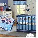 Brandream Nautical Crib Bedding Sets with Bumper Blue Baby Boy Bedding Sets, Ocean Whale Monkey Giraffe Elephant Printed, 8 Pieces