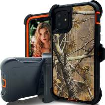 iPhone 11 Pro Max Case,Kudex Heavy Duty Shockproof 3-Layer Military High Impact Outdoor Sport Rubber TPU Hybrid Hard PC Defender Case Cover with Rugged Holster Belt Clip & Kickstand (Tree Orange)