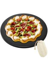 GOVOG Pizza Stone for Oven Grill Bread Round Glazed Cordierite Ceramic Durable BBQ Baking Pan with Cleaning Brush Easy Cleaning