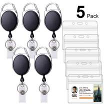 Ktrio 5 Pack Badge Holders with Badge Reels Retractable, Clear Plastic ID Card Badge Holder ID Badge Reel, ID Holders for Badges Work Badge Holder Name Tag Holders for Nurse, Office & Lanyard, Black