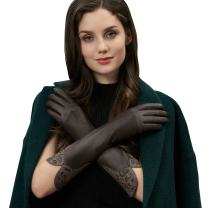 GSG Mom Gifts Warm Gloves Ladies Elbow Leather Dress Gloves Arm Warmers 3/4 Sleeves Coat Accessory Party