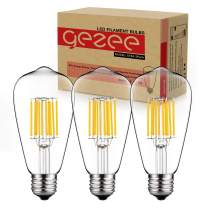 GEZEE 10W Edison Style Vintage LED Filament Light Bulb, 100W Incandescent Replacement,Warm White 2700K,1000LM, E26 Medium Base Lamp, ST64(ST21) Antique Shape, Clear Glass Cover,Dimmable(3 Pack)