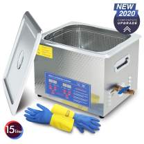 Dareflow 2020 Upgrade 600W Heated Ultrasonic Cleaner 15L Stainless Steel Sonic Bath for Guns Carburetors Injectors Parts and PCB with Free Rubber Gloves Gifts Use in Automotive and Firearm Industry