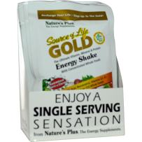 NaturesPlus Source of Life Gold Energy Shake 8 Pack - 1.2 oz, Vegetarian Drink Mix - Tropical Berry Flavor - Whole Food Vitamin, Mineral & Protein Powder - Probiotics - Gluten-Free - 8 Total Servings