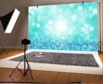 Baocicco 7x5ft Cyan Blue Bokeh Backdrop Dreamy Blue Light Spots Diamond-Like Glitters Photography Background Wallpaper Decor Girl's Birthday Party Adults Artistic Portrait Vlogger Studio Props