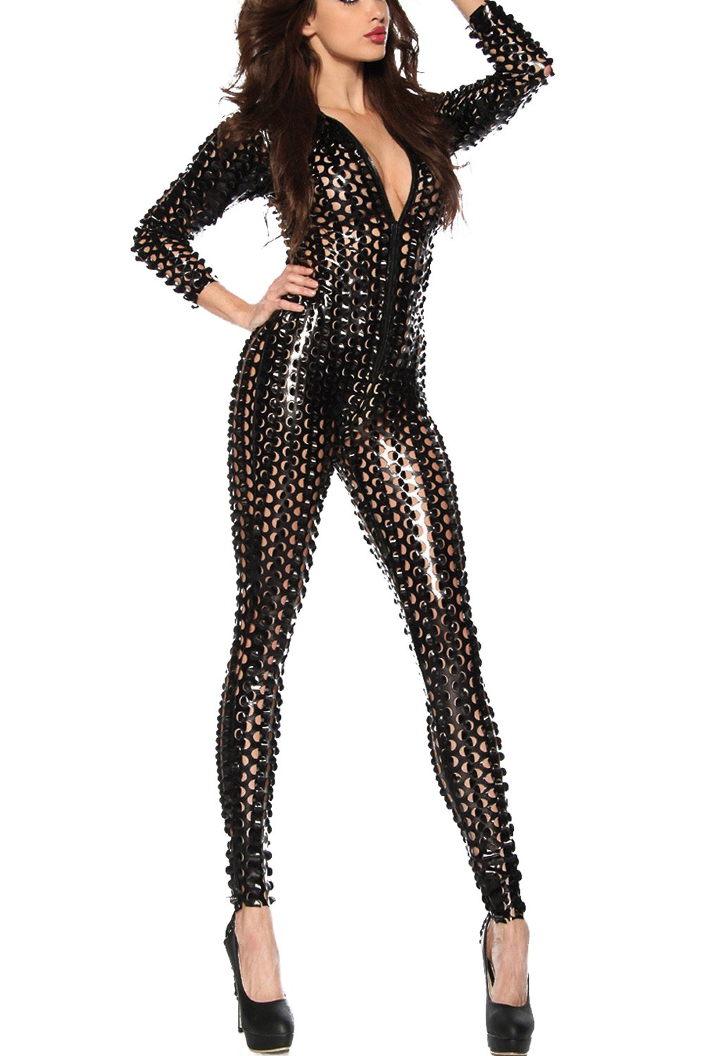LHS Charmer One-Piece Scaly Jumpsuit Punk Metallic 3D Hollow Up Catsuit Plus Size Metallic Skinny Stretch Bodysuit