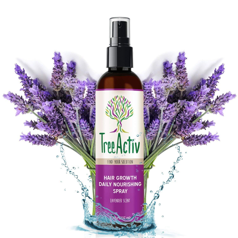 TreeActiv Hair Growth Daily Nourishing Spray, Natural Leave in Conditioner, Anti Frizz, Reduce Curly Frizzy Hair, Argan Oil, Biotin, Keratin, Silk Aminos, Tea Tree (Lavender)